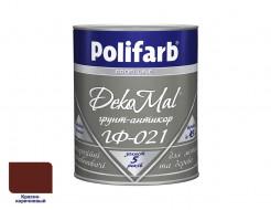 Антикоррозионная алкидная грунтовка для металла DekoMal ГФ-021 Polifarb матовая красно-коричневая