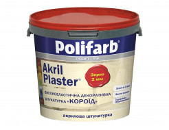 Декоративная штукатурка для фасадов и интерьеров Polifarb Akril-Plaser Короед (2 мм) белая