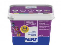 Эмаль акриловая Aura Luxpro Remix Anticor 3 в 1 антикоррозионная  RAL 5005 синяя - интернет-магазин tricolor.com.ua