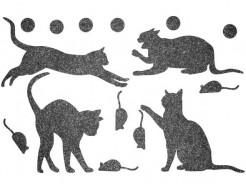 Декор из жидких обоев Bioplast Коты №4 - 16 элементов