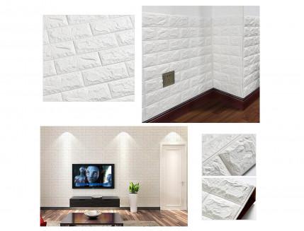 Самоклеющаяся декоративная 3D панель «Кирпич» белый №1 (5 мм) - изображение 8 - интернет-магазин tricolor.com.ua