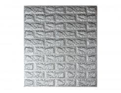 Самоклеющаяся декоративная 3D панель «Кирпич» серебро №17 (7 мм) - интернет-магазин tricolor.com.ua