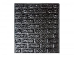 Самоклеющаяся декоративная 3D панель «Кирпич» черный №19 (7 мм) - интернет-магазин tricolor.com.ua