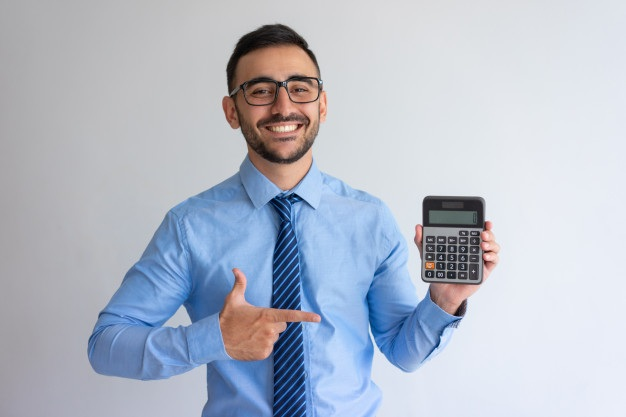 Cheerful banker advertising loan program 1262 16879