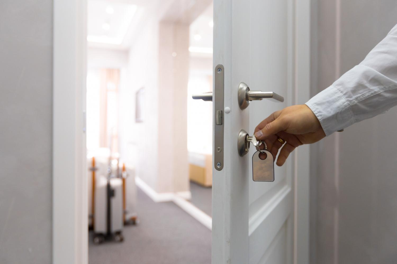 Opening hotel door concept