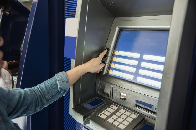 People waiting get money from automated teller machine people withdrawn money from atm concept 1150 13566