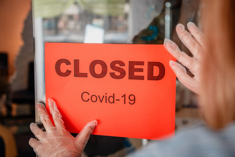 Sign closed covid 19 lockdown shop entrance door new normal shutdown lockdown coronavirus covid 19
