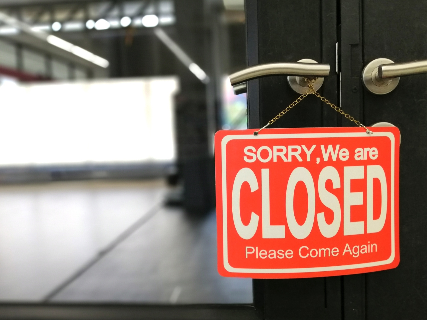 Sorry we are closed door sign board