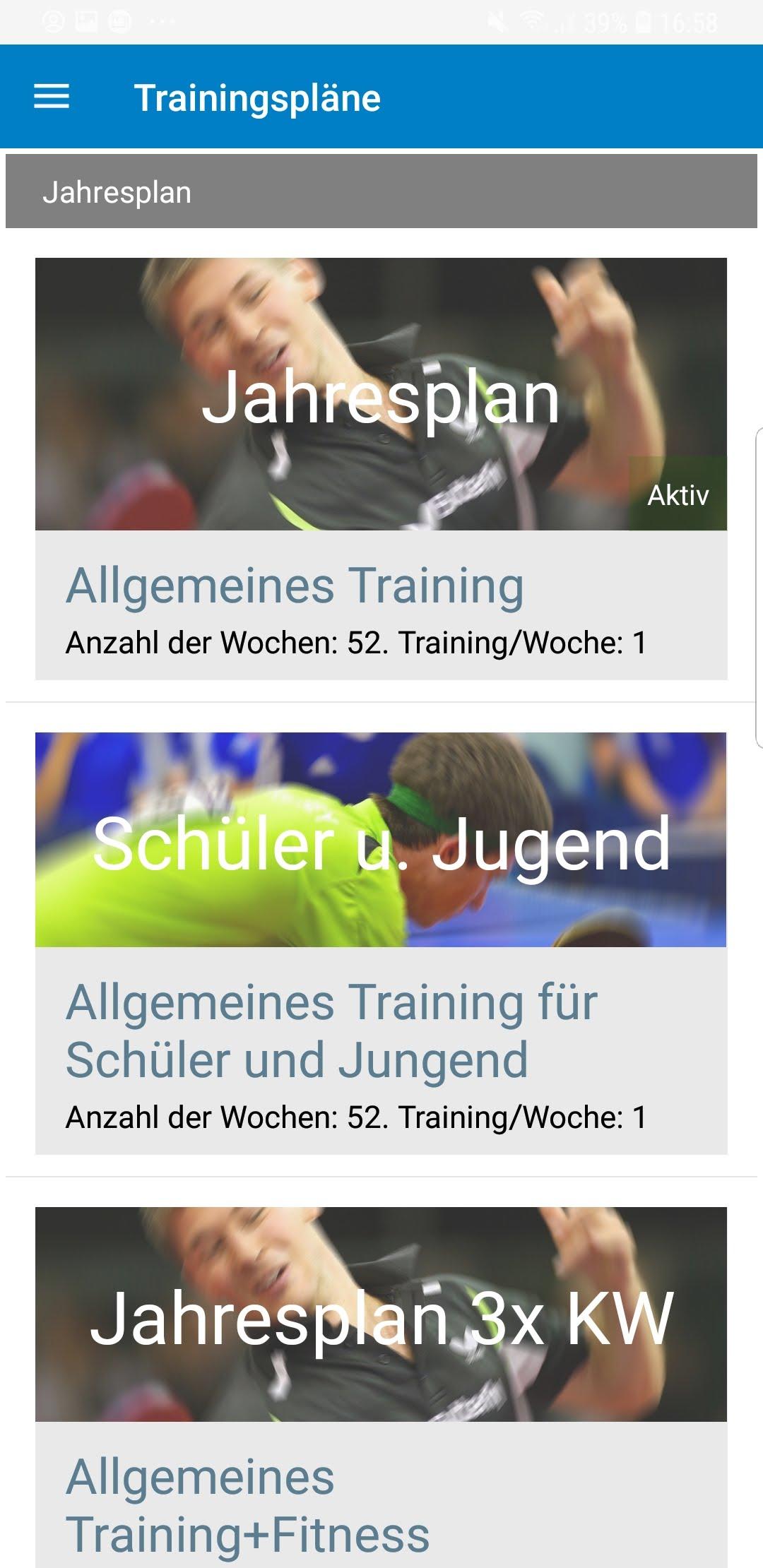 TT-Coach App Planübersicht
