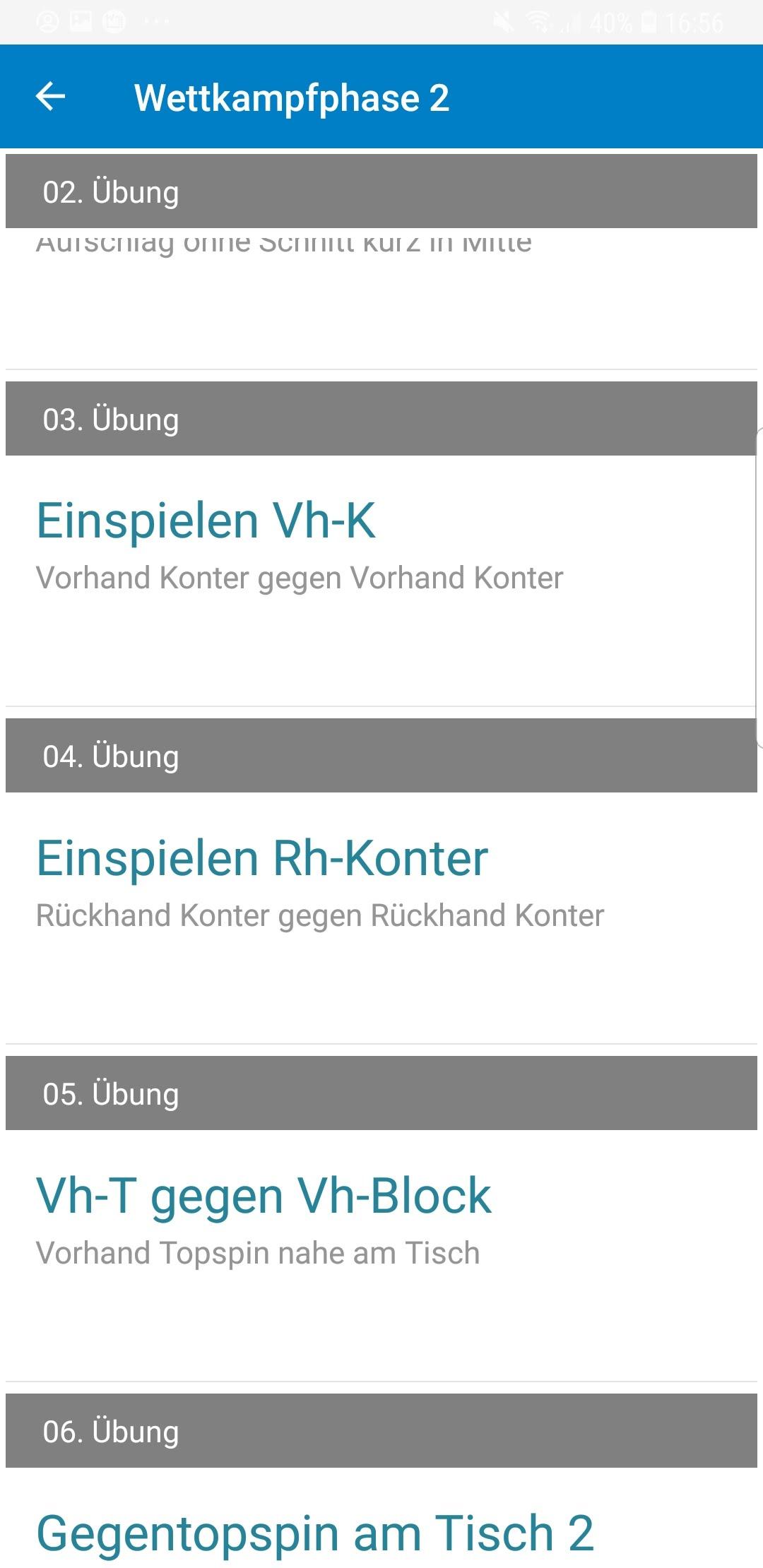 TT-Coach App Übungsliste