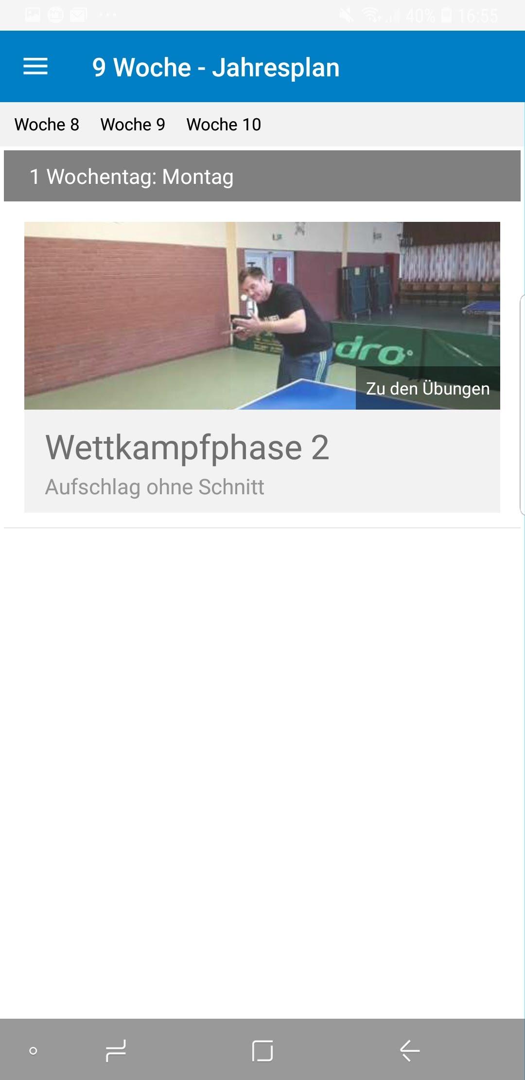 TT-Coach App Wochenansicht