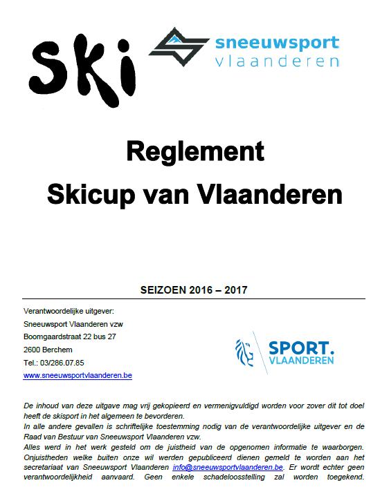 Reglement Skicup van Vlaanderen 2016-2017 - Titelpagina