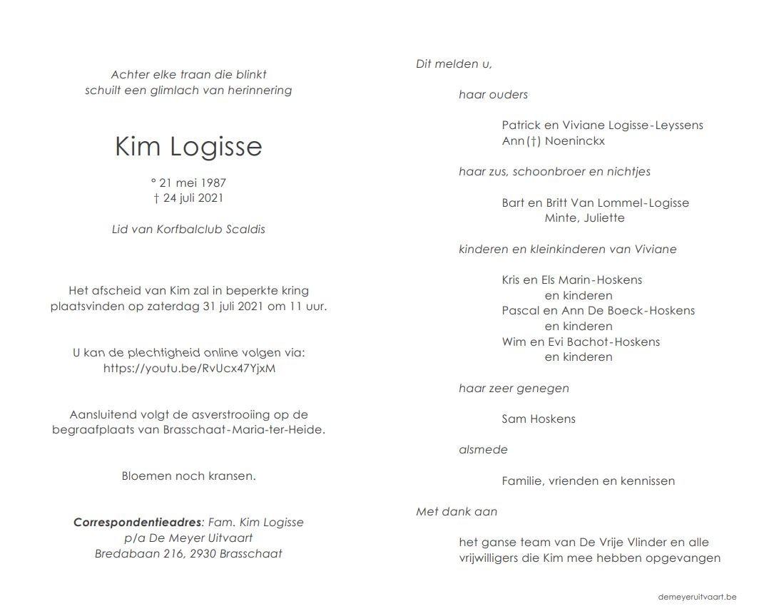 Rouwkaart Kim Logisse