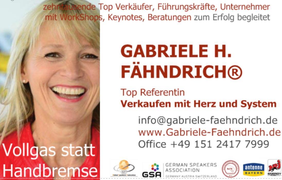 Bild zu Gabriele FÄHNDRICH / Coaching + Beratung / Persönlichkeitsentwicklung + Verkauf in München