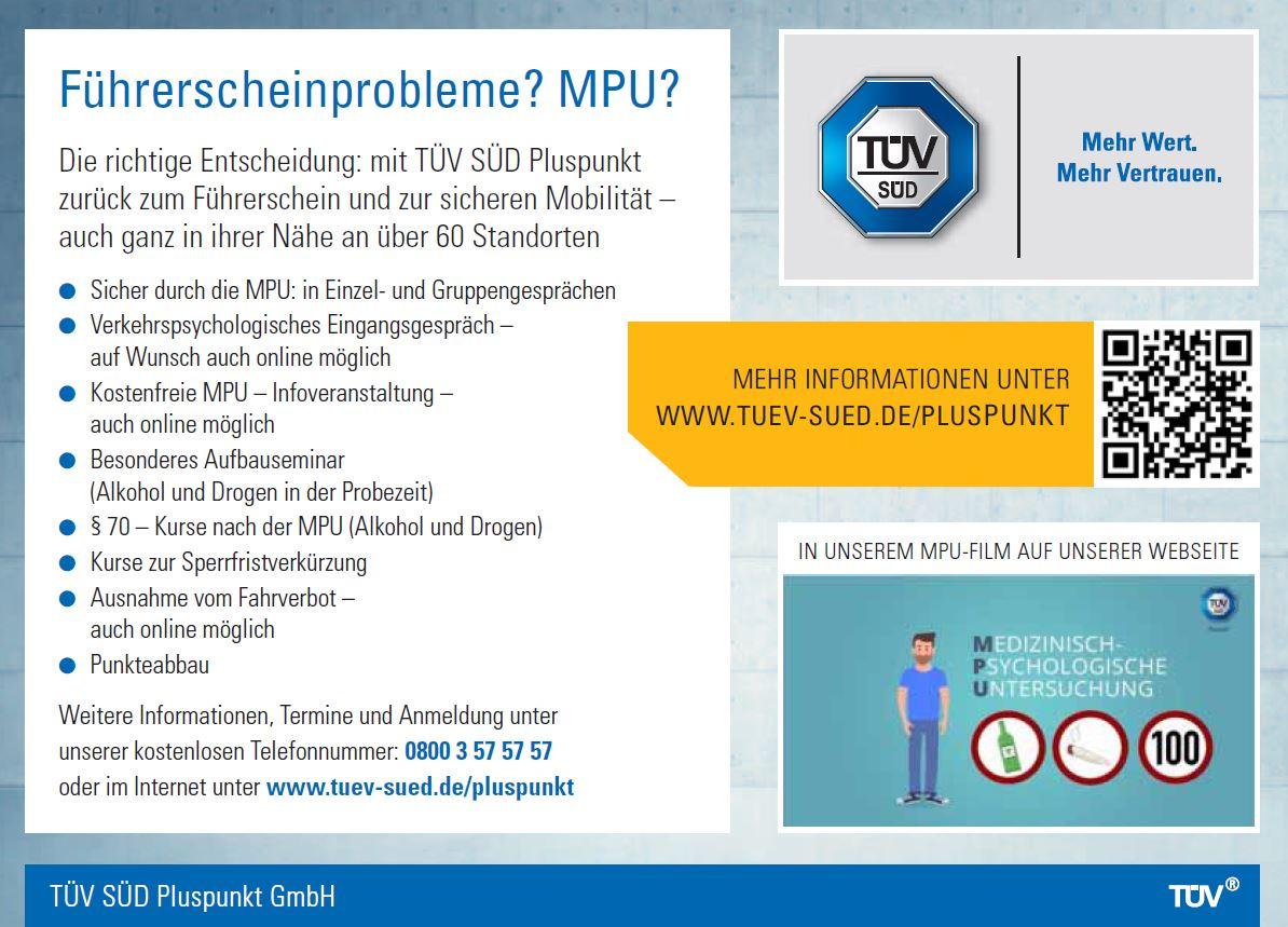 TÜV SÜD Pluspunkt GmbH - MPU Vorbereitung München