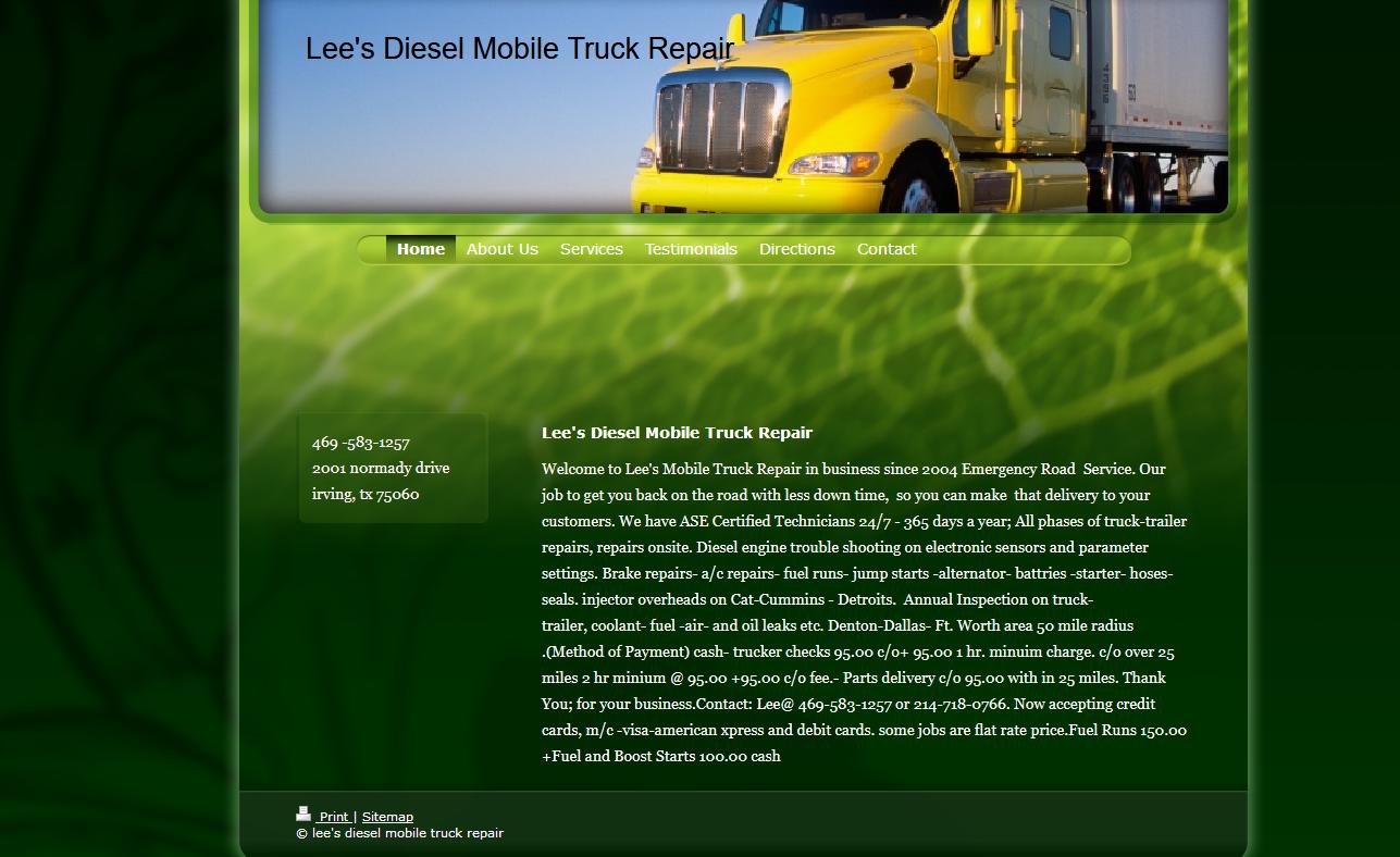 Lee's Diesel Mobile Truck Repair
