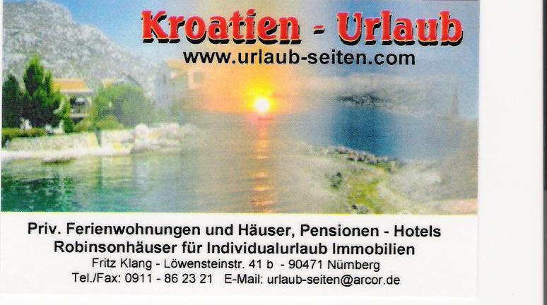 Kroatien-Urlaub Fritz Klang Vermittlung von Urlaubsunterkünften