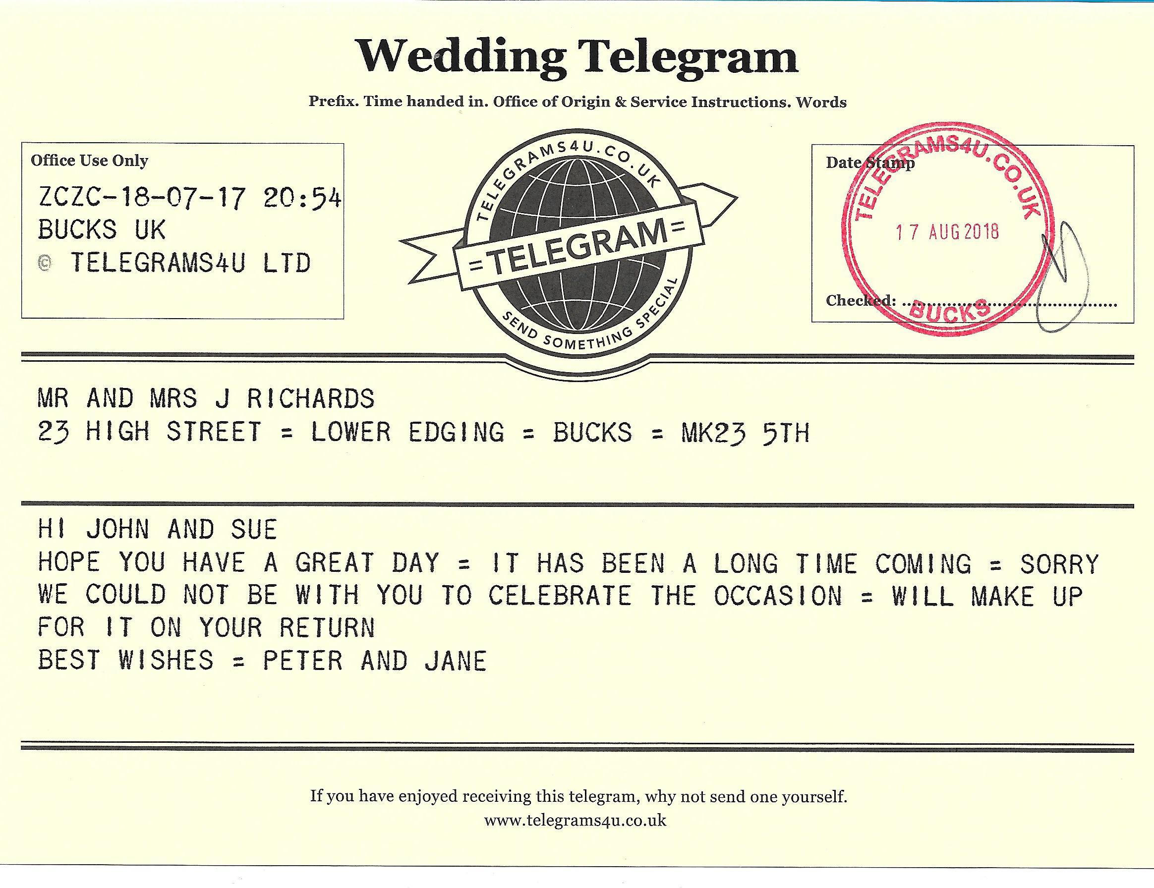 Telegrams4u - Saffron Walden, Essex CB11 4AH - 07784 077314 | ShowMeLocal.com