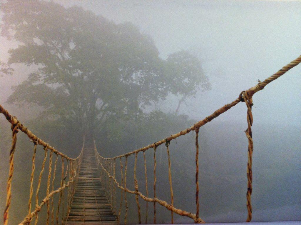 первом фотообои подвесной мост в тумане сестра, тебя поздравляем