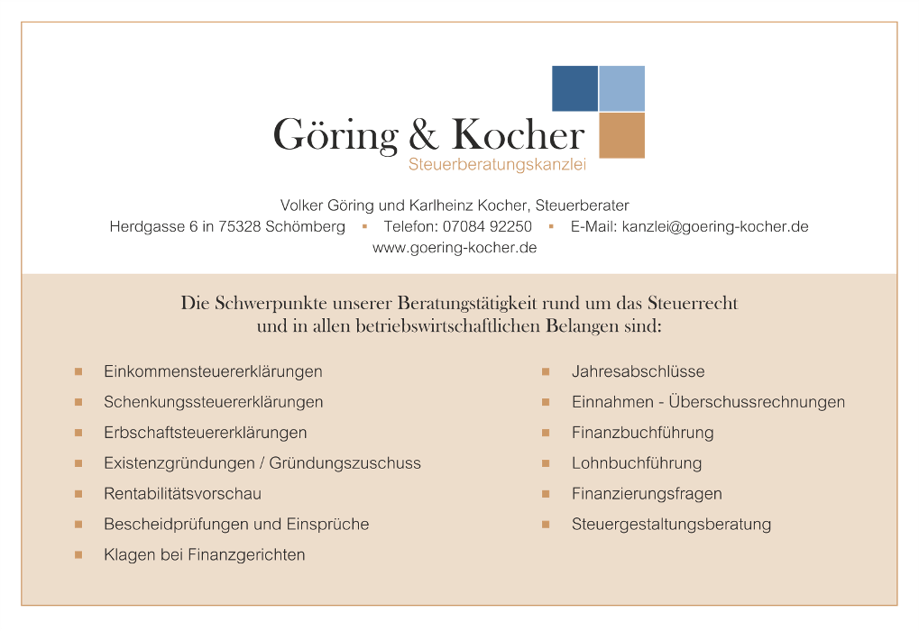 Bild zu Göring & Kocher Steuerberaterkanzlei in Schömberg bei Neuenbürg
