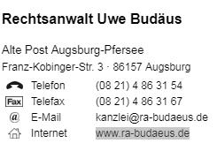 Budäus Uwe Rechtsanwalt Augsburg