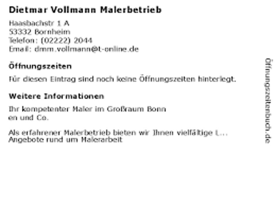 Bild zu Dietmar Vollmann Malerbetrieb in Bornheim im Rheinland