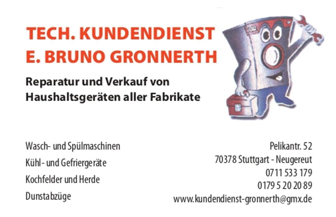 Bild zu ERWIN BRUNO GRONNERTH TECH KUNDENDIENST FÜR HAUSHALTSGERÄTE in Stuttgart