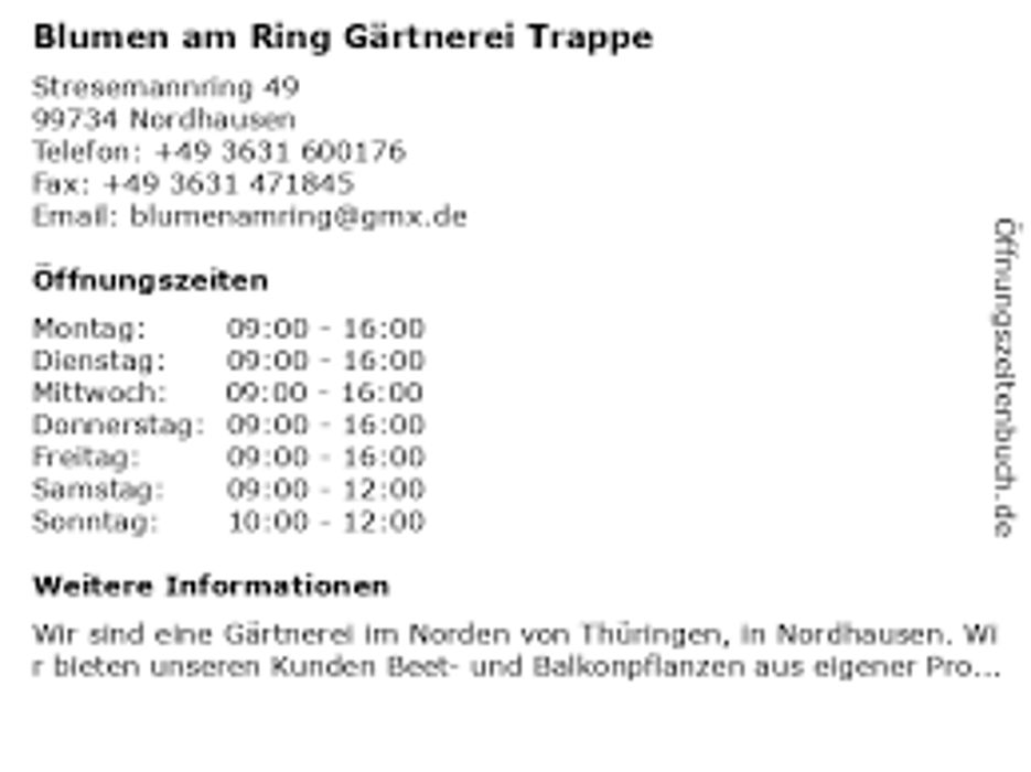 Bild zu Blumen am Ring Gärtnerei Trappe in Nordhausen in Thüringen
