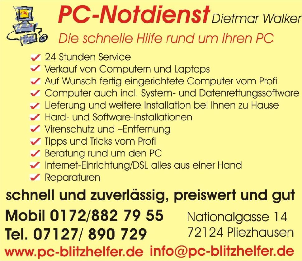Dietmar Walker PC-Blitzhelfer PC-Notdienst