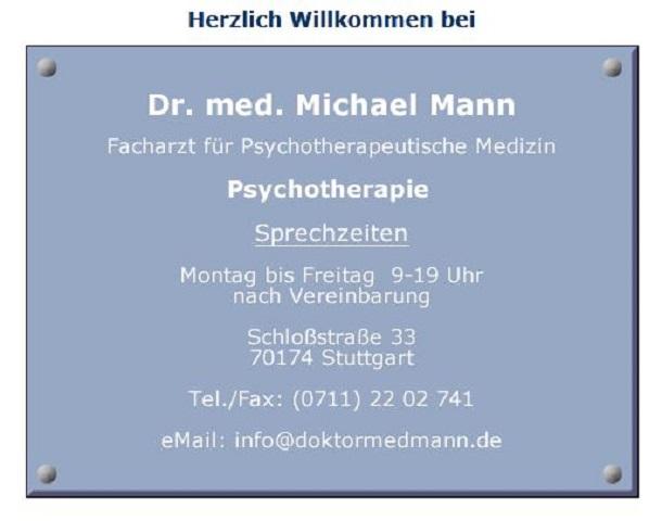 Dr.med. Michael Mann, Facharzt für Psychosomatische Medizin und Psychotherapie