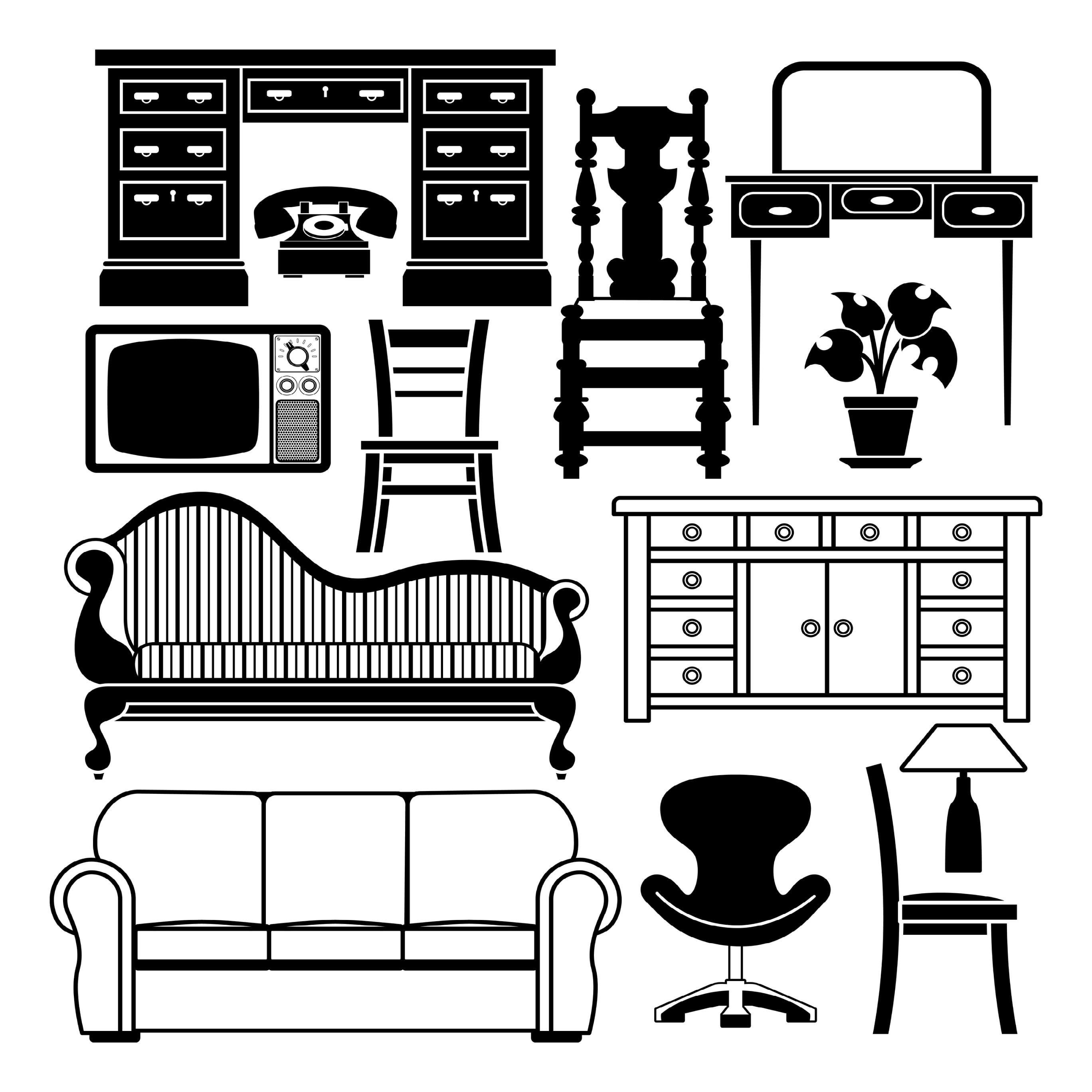 Комплект мебели иллюстрация вектора. изображение насчитывающ.