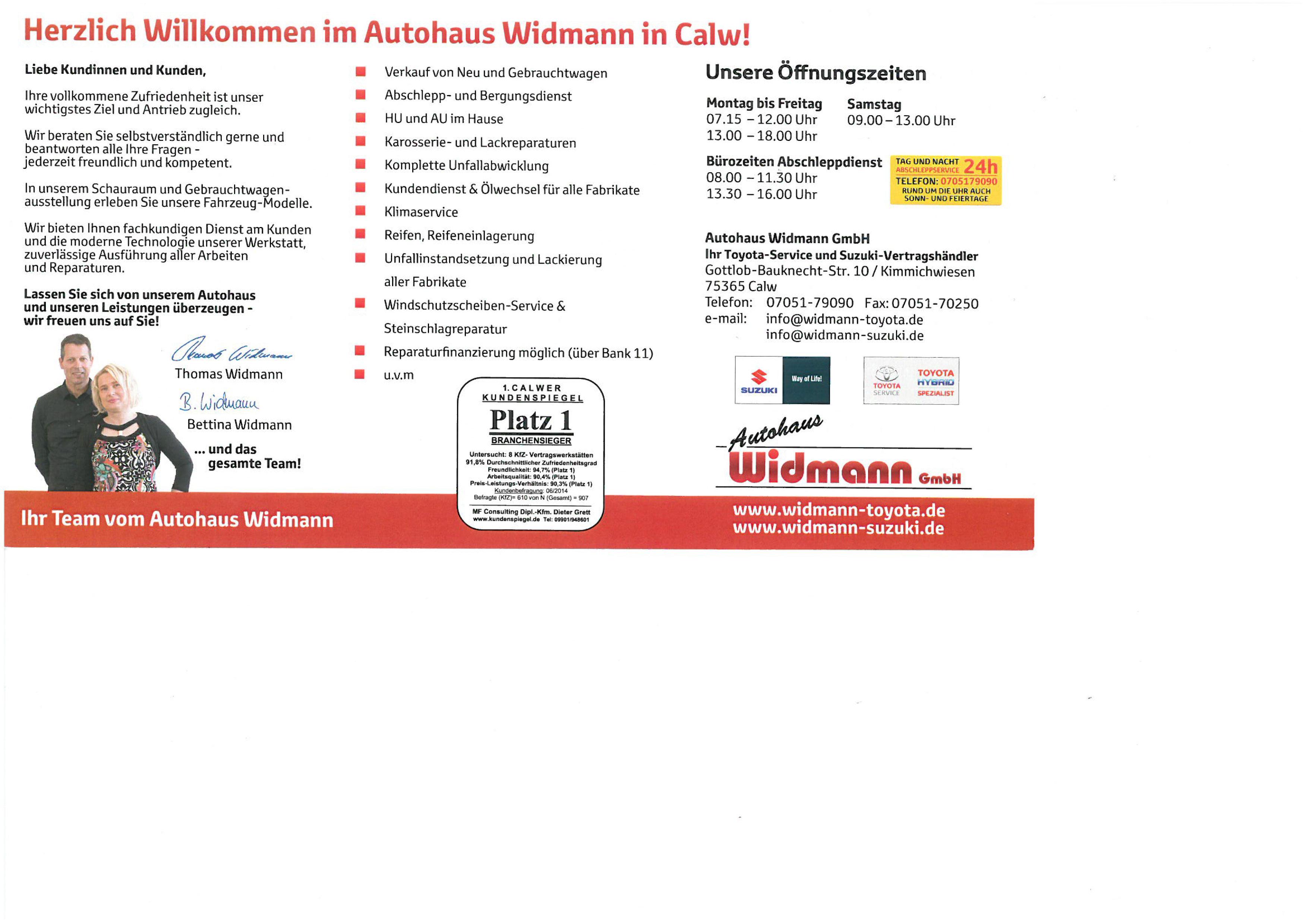 Widmann GmbH Autohaus - Toyota-Service