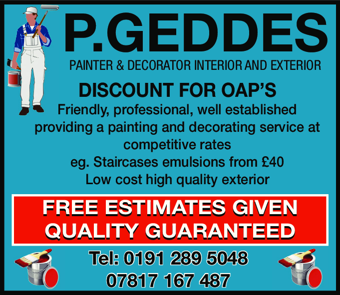 P. Geddes Painter & Decorator Interior and Exterior - North Shields, Tyne and Wear NE29 9LP - 01912 895048   ShowMeLocal.com