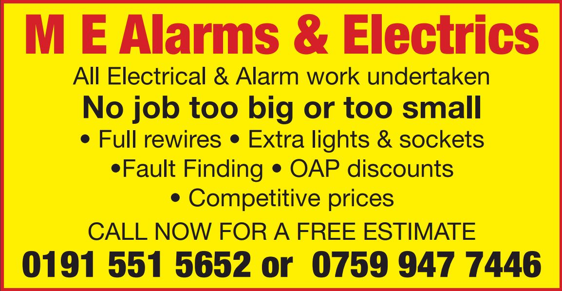 M E Alarms and Electrical - Sunderland, Tyne and Wear SR3 4PG - 01915 515652 | ShowMeLocal.com