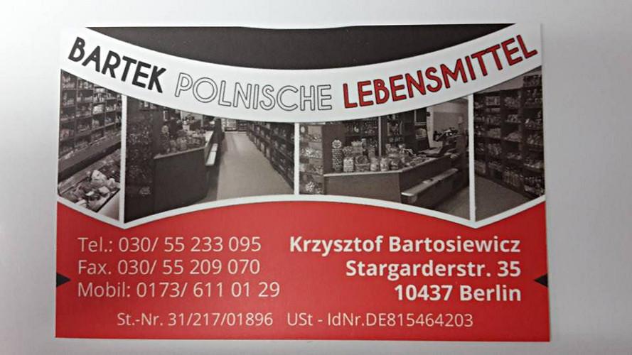 bartek polnische lebensmittel in berlin branchenbuch deutschland. Black Bedroom Furniture Sets. Home Design Ideas