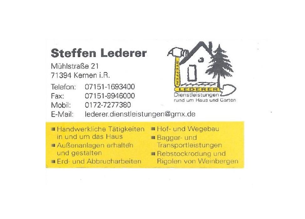 Steffen Lederer, Dienstleistungen • Kernen im Remstal, Mühlstraße 21 ...