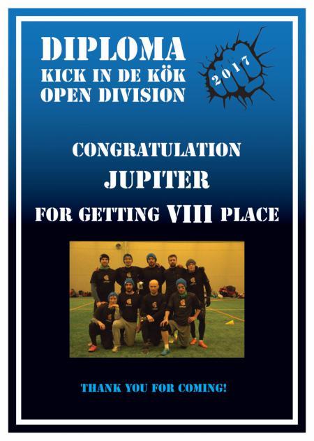 Команда JuPiter натурнире Kick in de Kok 2017 (ОД, 8/24)