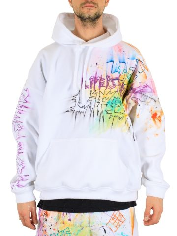 Fleece All-Over-Paint HOODIE White