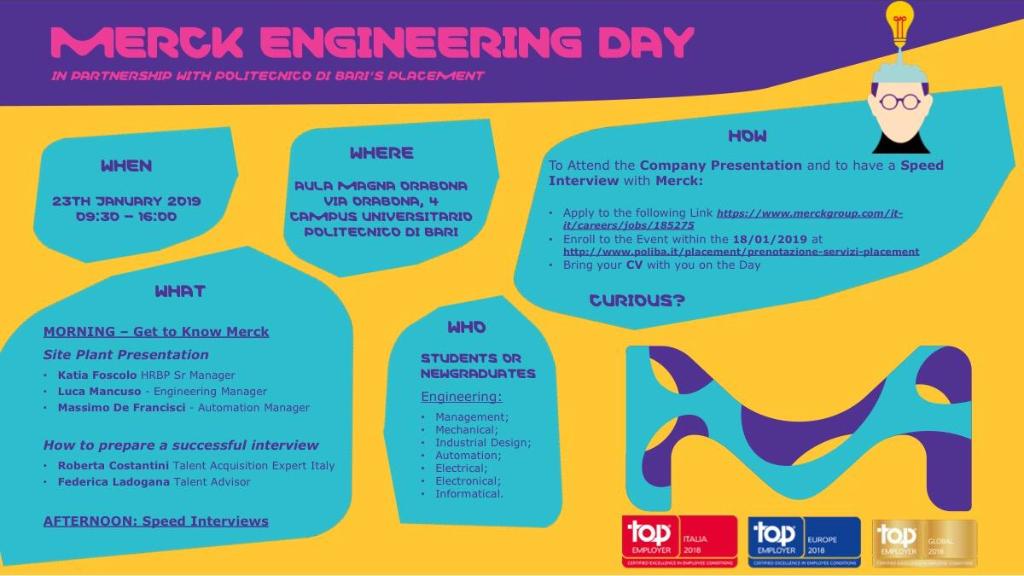 Partecipa al Merck Engineering Day PoliBA! image