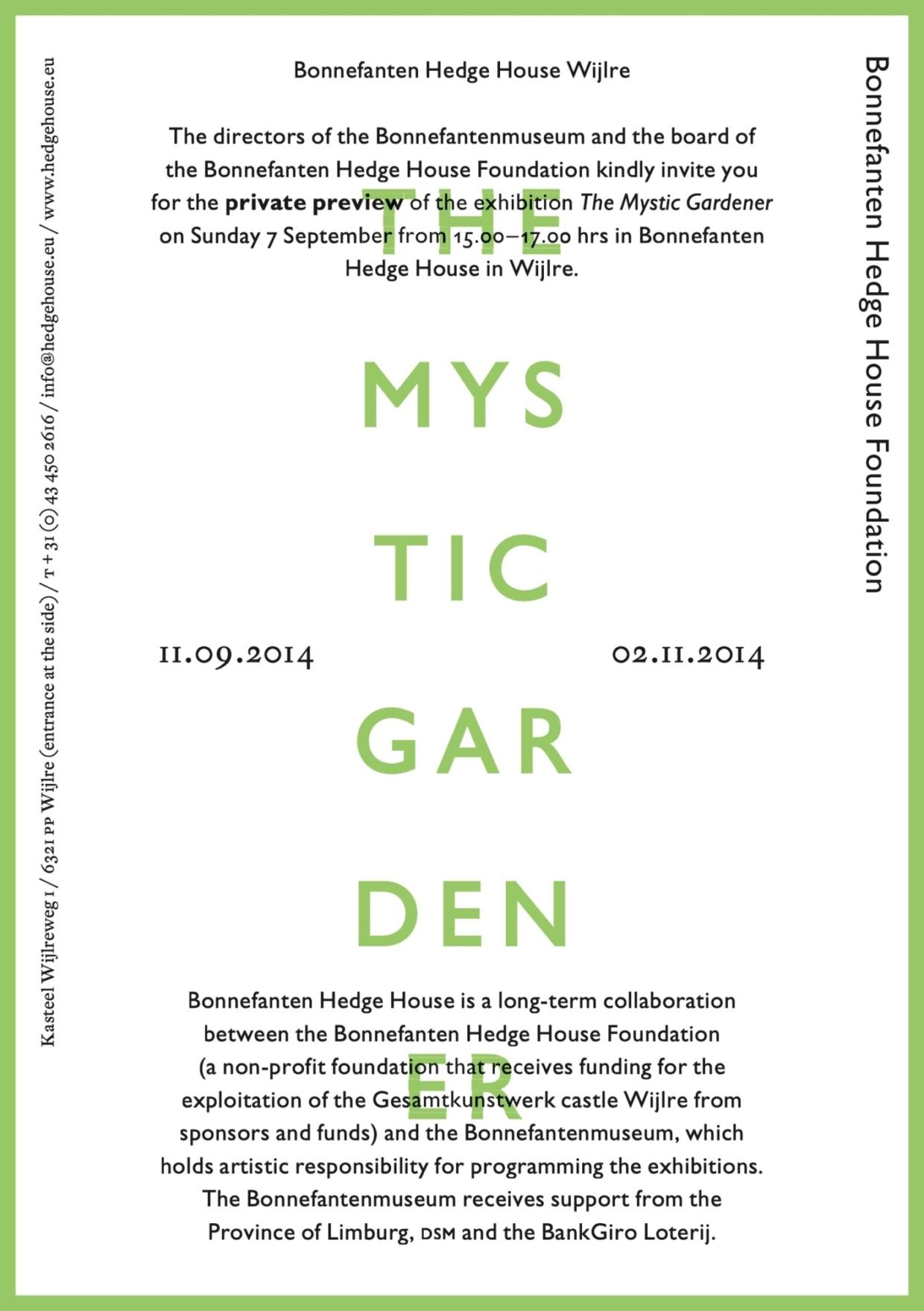 Uitnodiging The Mystic Gardener