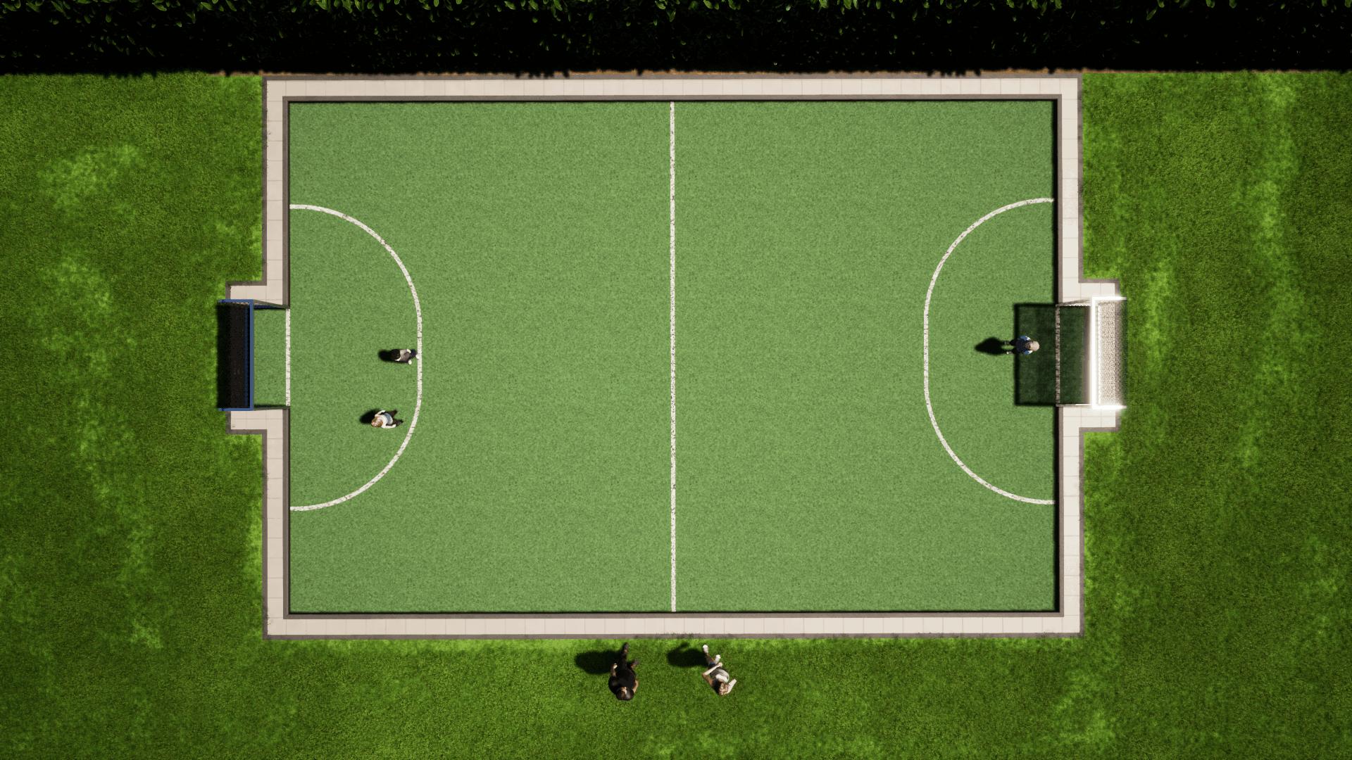 Hockeyveld ZILVER Bovenaanzicht