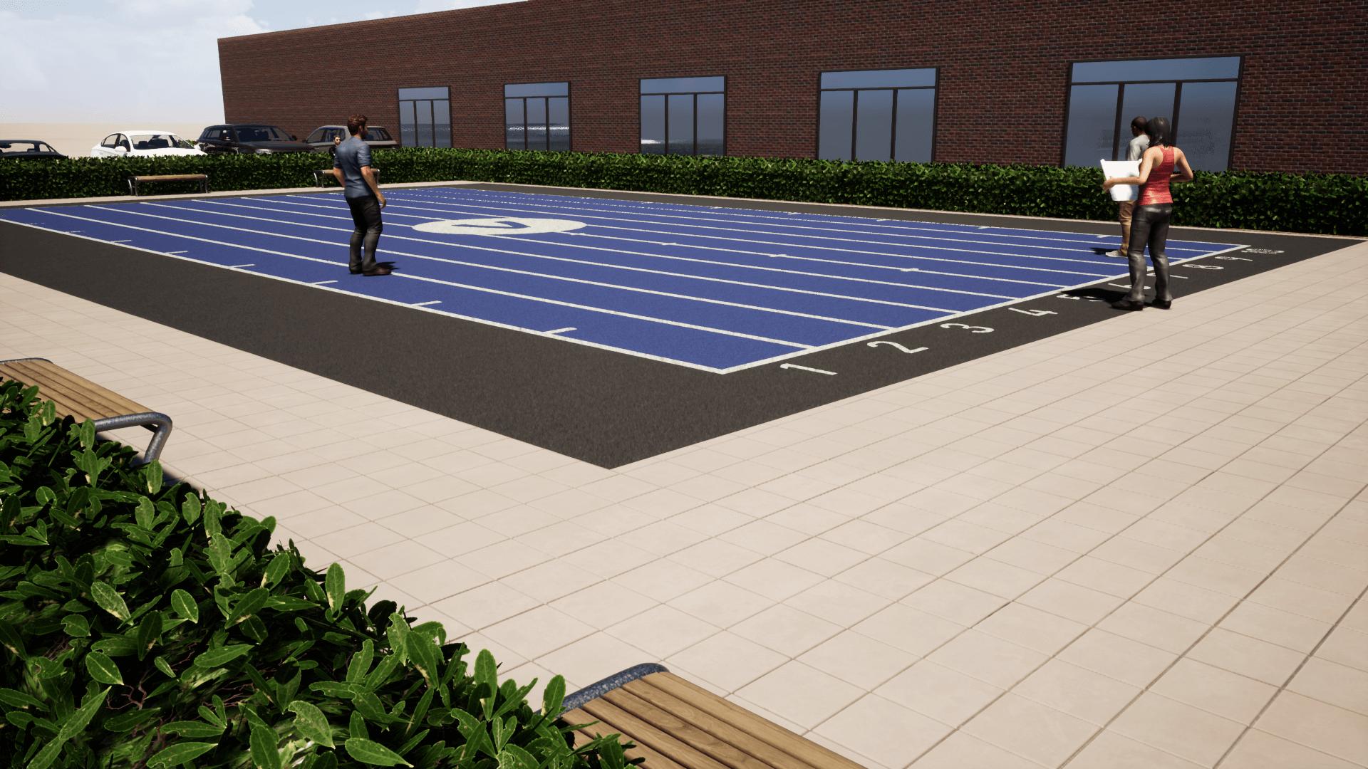 Outdoor Fitnessbaan BLUE Extra renderhoek