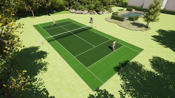 Prive kunstgras tennisveld particulier