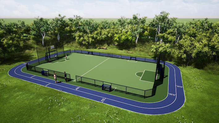 Kunstgras sportveld hekwerk sintelbaan vario