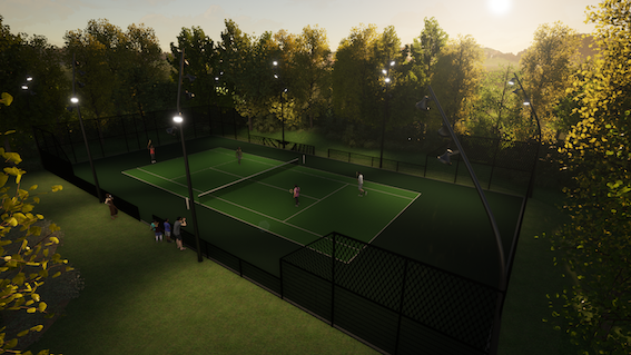 Prive tuin kunstgras tennisveld