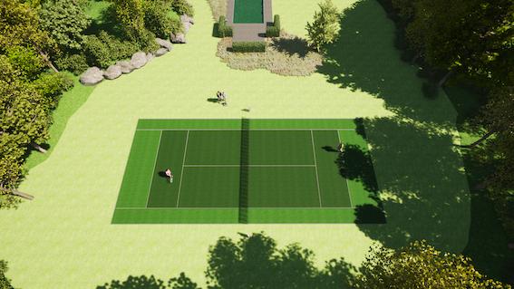tennisveld klein privetuin achtertuinkunstgras