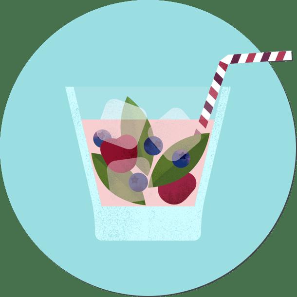 In een glas