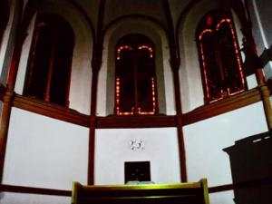 Lichtinstallation Stadtkirche Bad Berleburg Winter 2014