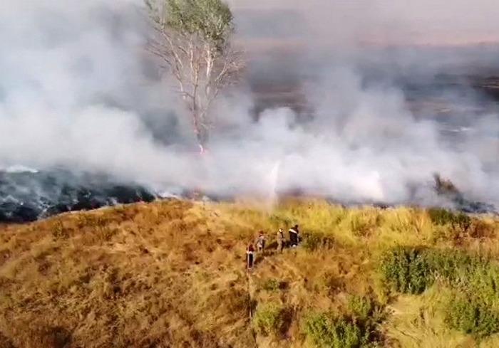 Пожар торфа на военном полигоне под Харьковом локализован