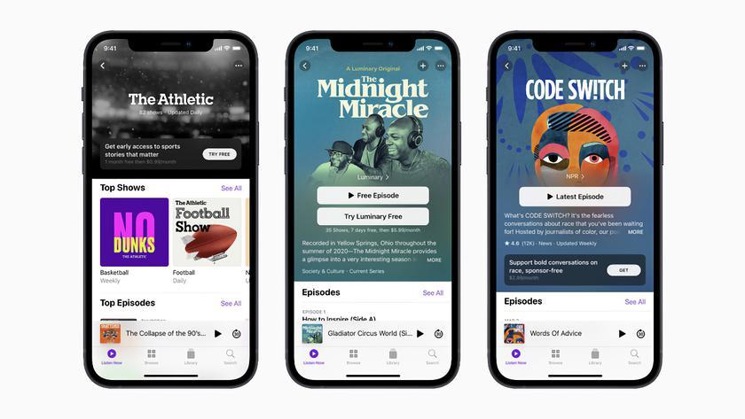 Apple представила подписку для подкастов и новую версию приложения